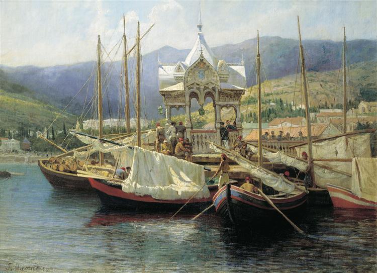 Enbarkement in Yalta, 1890 - Grigoriy Myasoyedov