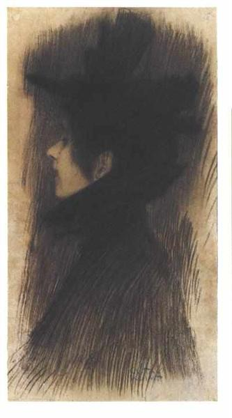 Girl with hat and cape in profile, 1898 - Gustav Klimt