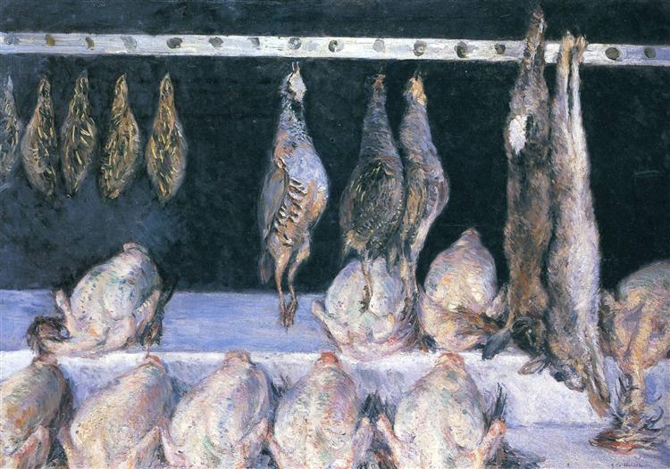 Display of Chickens and Game Birds, c.1882 - Gustave Caillebotte