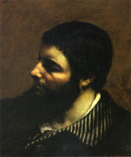 Self-Portrait with Striped Collar, 1854 - Gustave Courbet