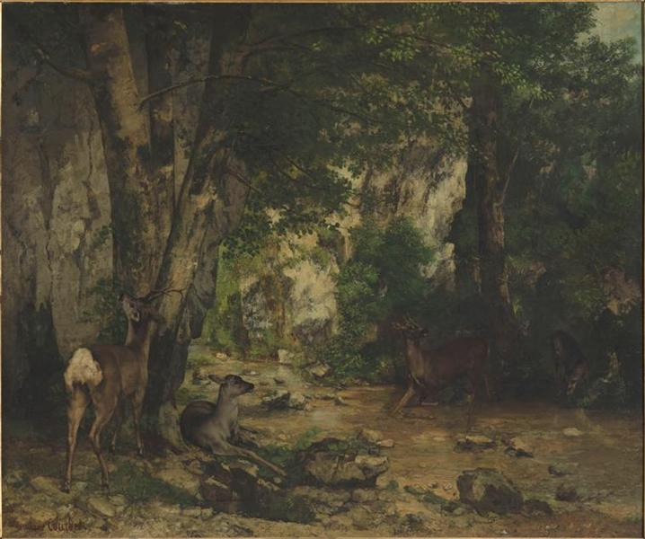 Shelter of Deers at Plaisir Fontaine Creek, 1866 - Gustave Courbet