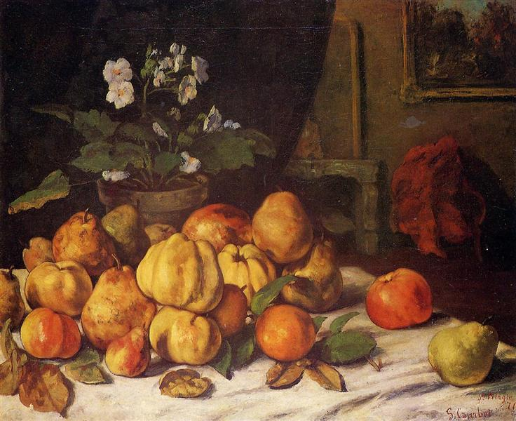 Still Life Apples, Pears and Flowers on a Table, Saint Pelagie, 1871 - Gustave Courbet