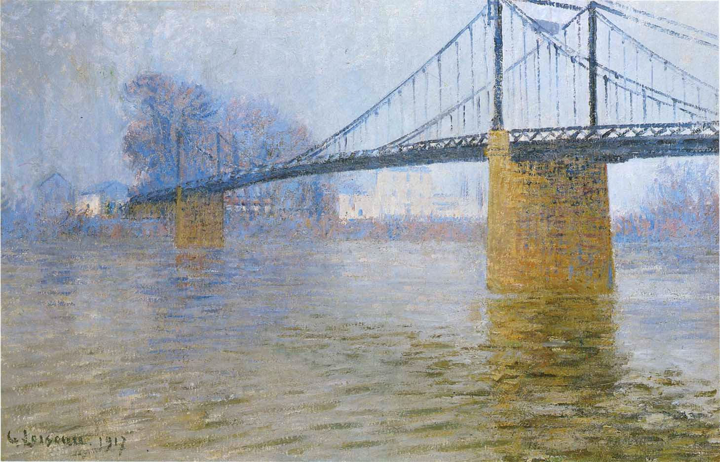 suspended bridge at triel 1917 gustave loiseau. Black Bedroom Furniture Sets. Home Design Ideas