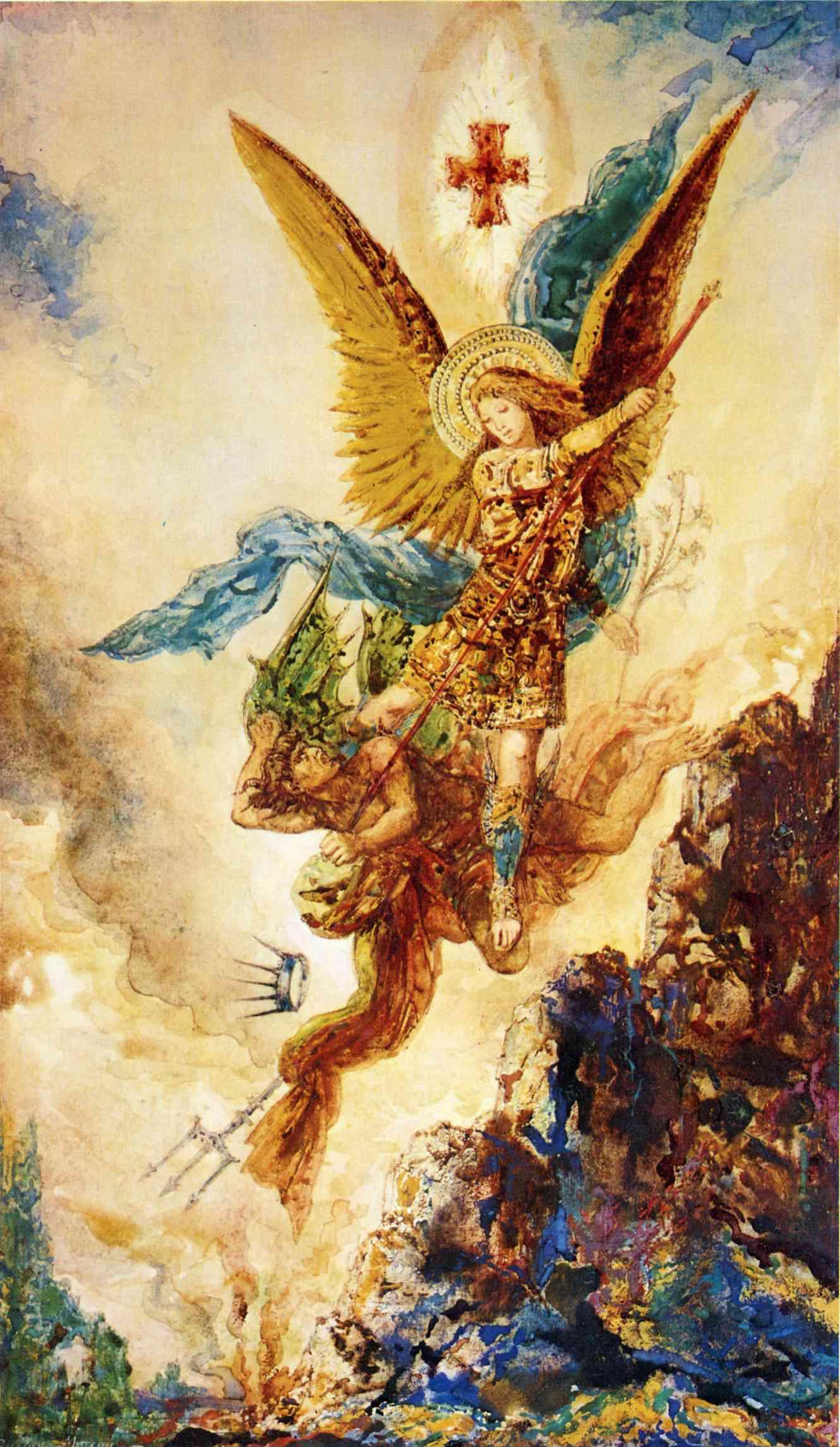 Saint Michael Vanquishing Satan, c.1882 - Gustave Moreau ...
