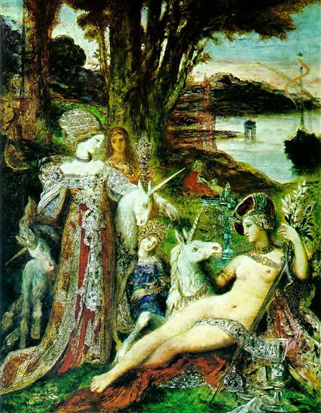 The Unicorns, c.1885 - Gustave Moreau