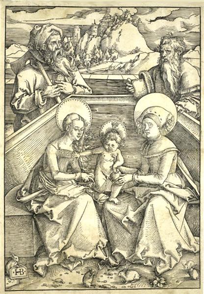 The Holy Family with Saint Anne and Saint Joachim Gravure sur bois vers realisee 1510 1511 (Allemagne) 5 lapins se trouvent aux pieds de la Sai.jpg, 1510 - 1511 - Hans Baldung