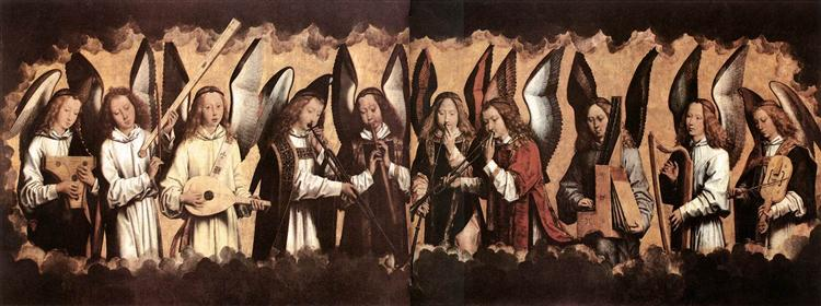 Five Angels Playing Musical Instruments, left hand panel from a triptych from the Church of Santa Maria la Real, Najera, c.1487 - 1490 - Hans Memling