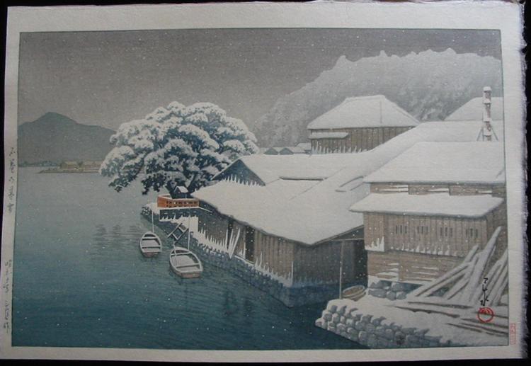 Snow at Ishinomaki, 1953 - Kawase Hasui