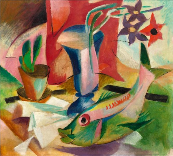 Stillleben mit Fisch, 1916 - Генрих Кампендонк