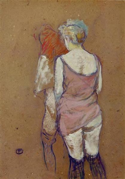 Two Half Naked Women Seen from Behind in the Rue des Moulins Brothel, 1894 - Henri de Toulouse-Lautrec