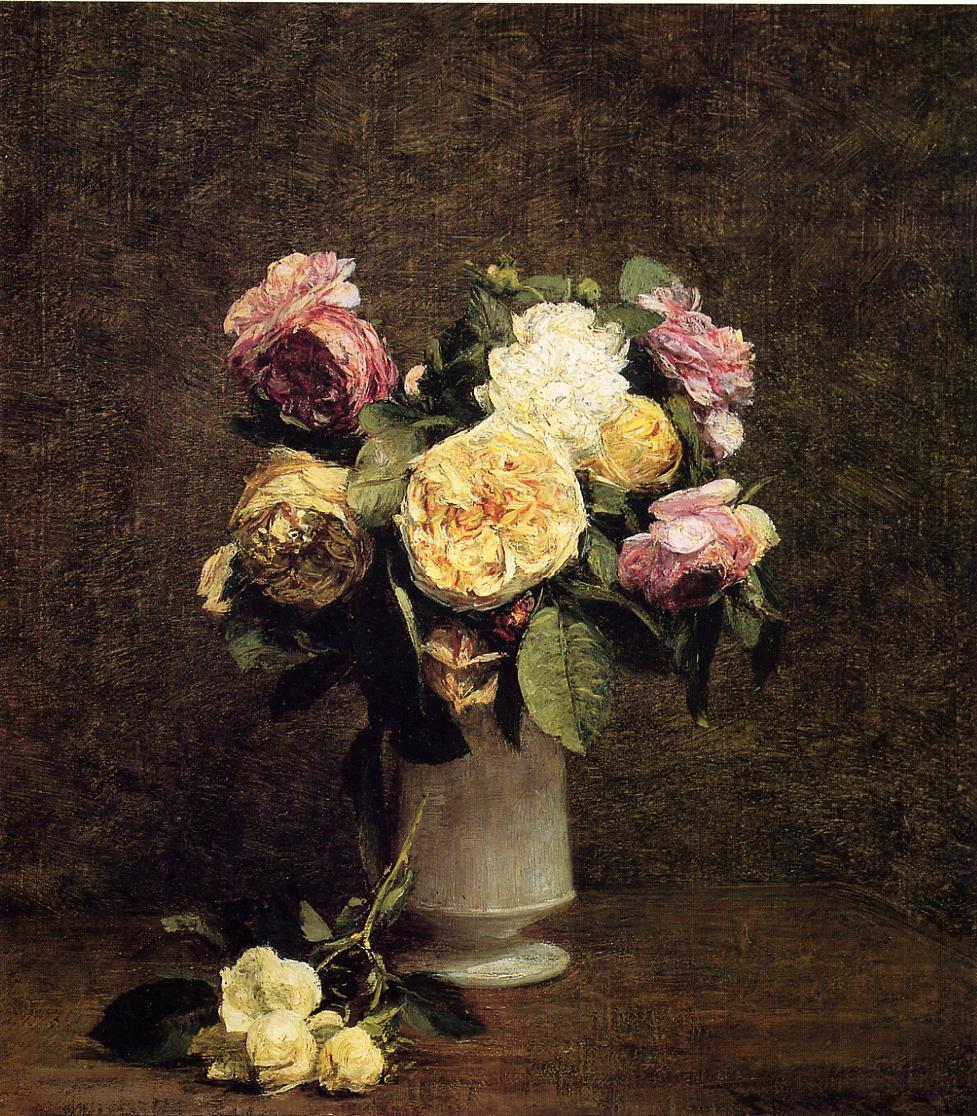 roses in a white porcelin vase 1874 henri fantin latour. Black Bedroom Furniture Sets. Home Design Ideas