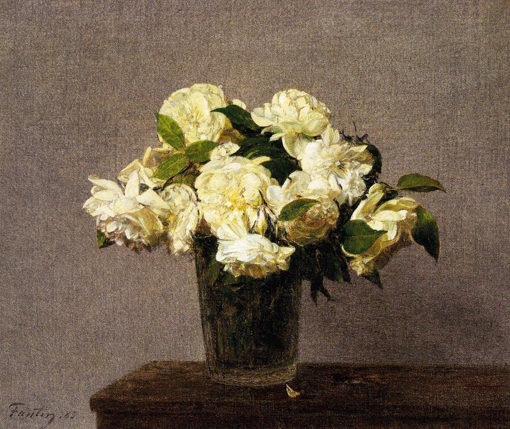 white roses in a vase 1885 henri fantin latour. Black Bedroom Furniture Sets. Home Design Ideas