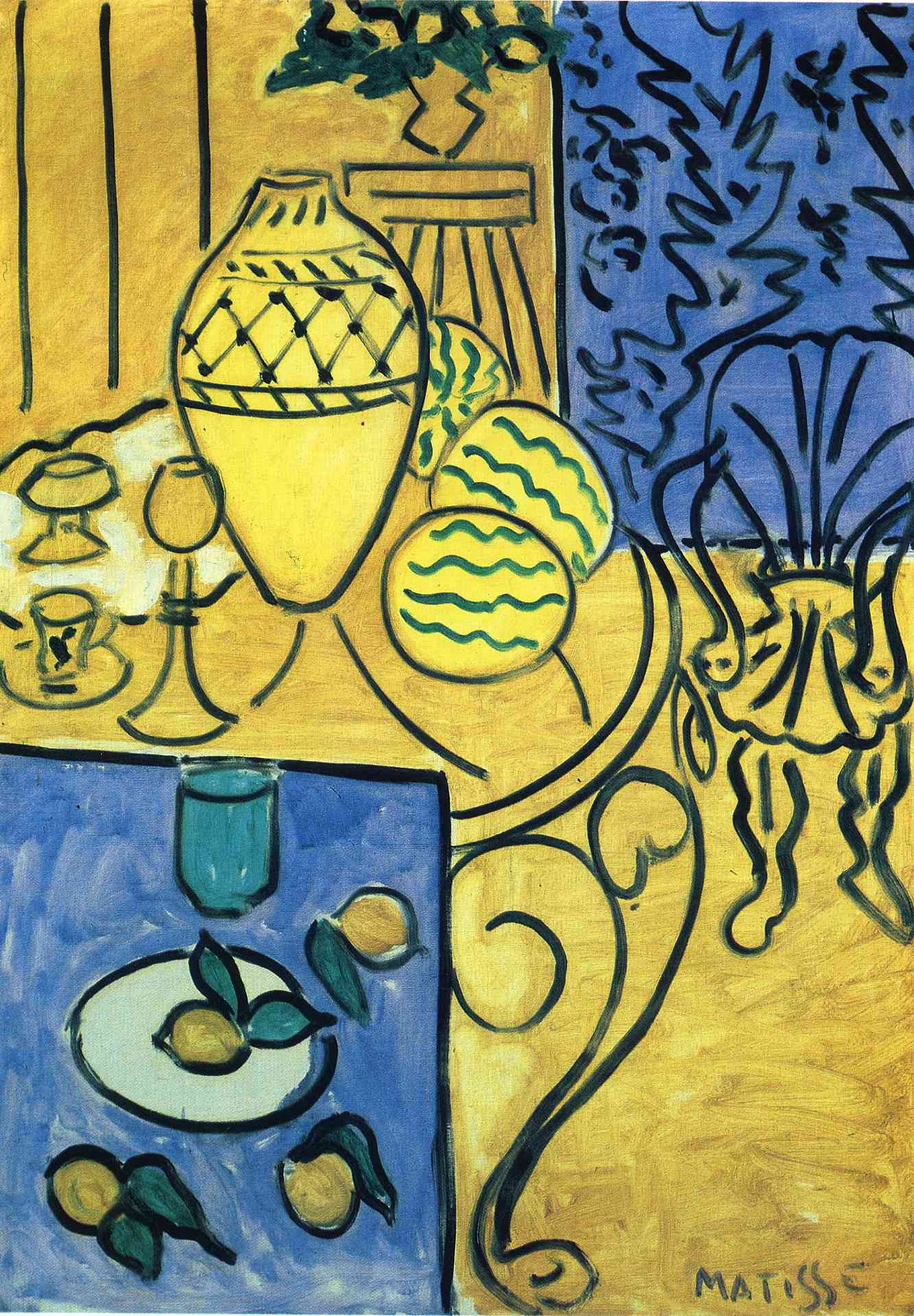 Interior in yellow henri matisse for Art et fenetre nice