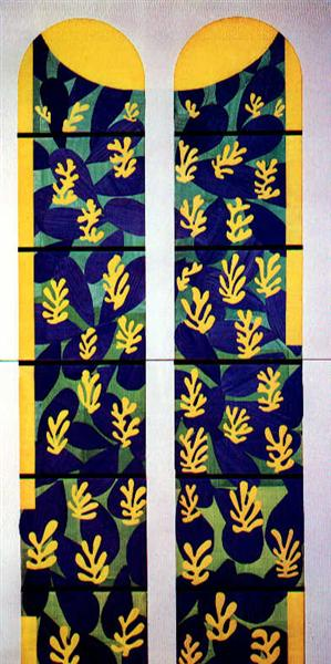 Tree of Life' Stained Glass behind the Altar in the Chapel of the Rosary at Vence, 1948 - 1951 - Henri Matisse