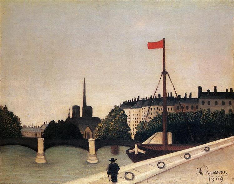 Notre Dame View of the Ile Saint Louis from the Quai Henri IV, 1909 - Henri Rousseau