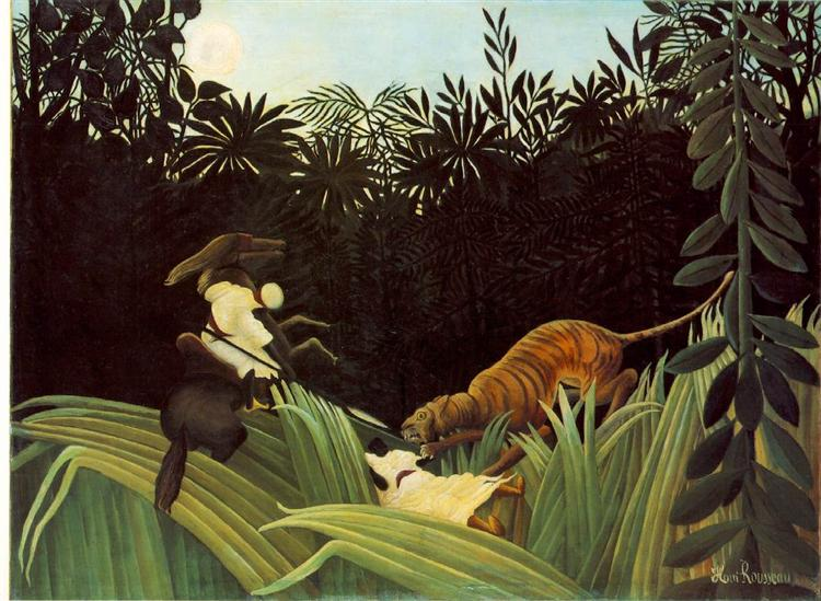Scout Attacked by a Tiger - Henri Rousseau