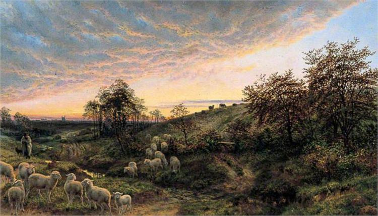 Twilight, Vallée de la Cluse, near Boulogne, 1863 - Henry William Banks Davis