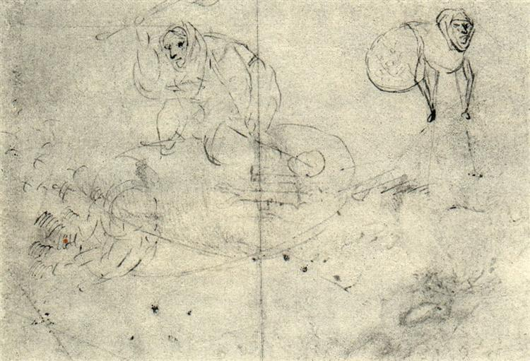 Figure in a beehive and a monsterb (A cursory sketch of two women) - Hieronymus Bosch