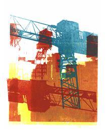 Green & 'Red building crane' - mono-print art, 2010; Dutch artist, Hilly van Eerten - Hilly van Eerten