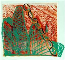 'Red & Green fishnets', mixed media, 2003; artist Hilly van Eerten - Hilly van Eerten