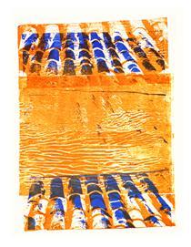 'Roof tiles' No 6. - graphic print art, 2005; artist Hilly van Eerten - Hilly van Eerten