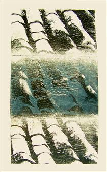 'Roof tiles' No 7 - graphic print art, 2005; artist Hilly van Eerten - Hilly van Eerten