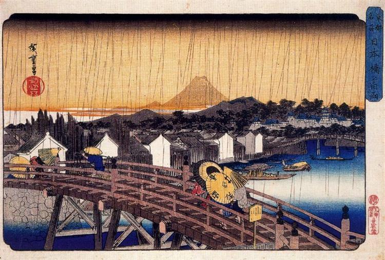 Evening Shower at Nihonbashi Bridge, c.1832 - Hiroshige