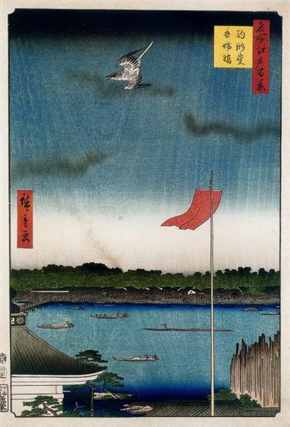 Komokata Hall and Azuma Bridge, 1857 - Утагава Хиросигэ