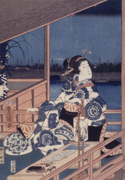 Moonlight View of Tsukuda with Lady on a Balcony, 1850 - 1856 - Утаґава Хіросіґе