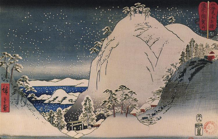 Shrines in snowy mountains - Hiroshige