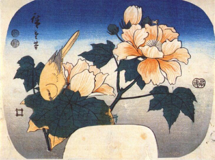 Yellow bird and cotton rose, 1852 - Hiroshige