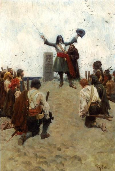 La Salle Christening the Country 'Louisiana' - Howard Pyle