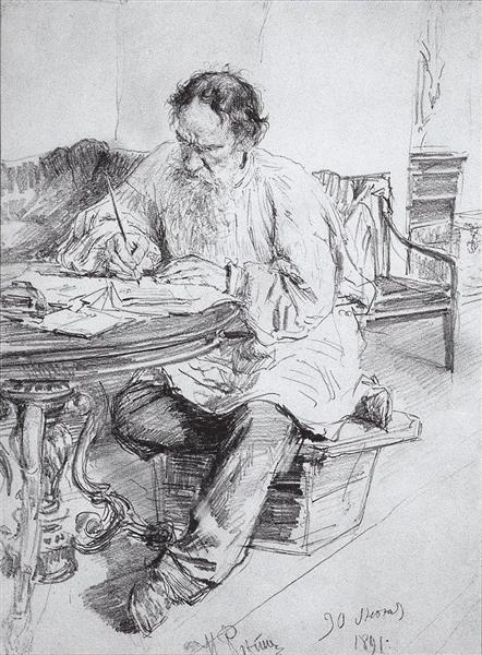 Leo Tolstoy working at the round table, 1891 - Ilya Repin