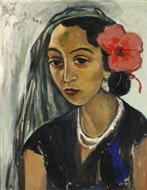 Woman with a Hibiscus - Irma Stern
