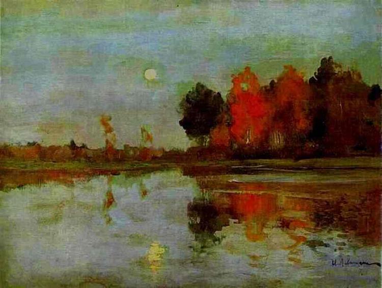 The Twilight. Moon., 1898 - Isaac Levitan