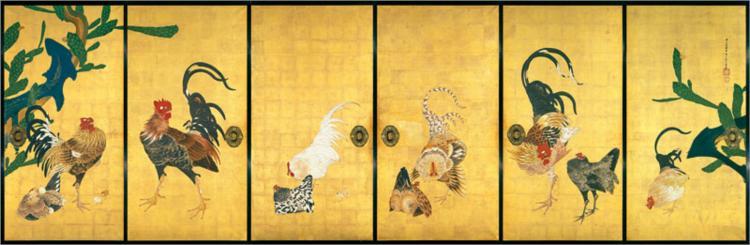 Cactus and Roosters, 1789 - Ito Jakuchu