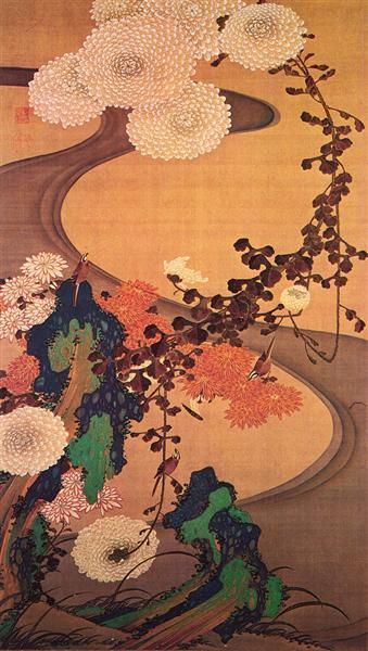 Chrysanthemums by a stream, with rocks, 1760 - Ito Jakuchu