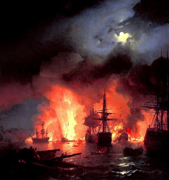Battle of Cesme at Night - Ivan Aivazovsky