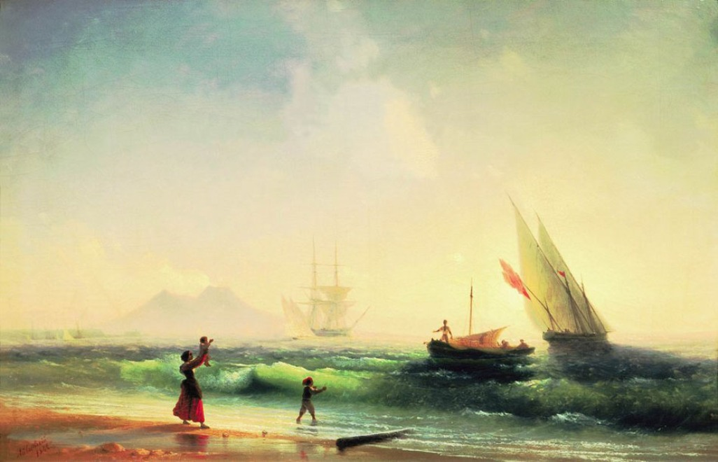 Meeting of a fishermen on coast of the bay of Naples, 1842