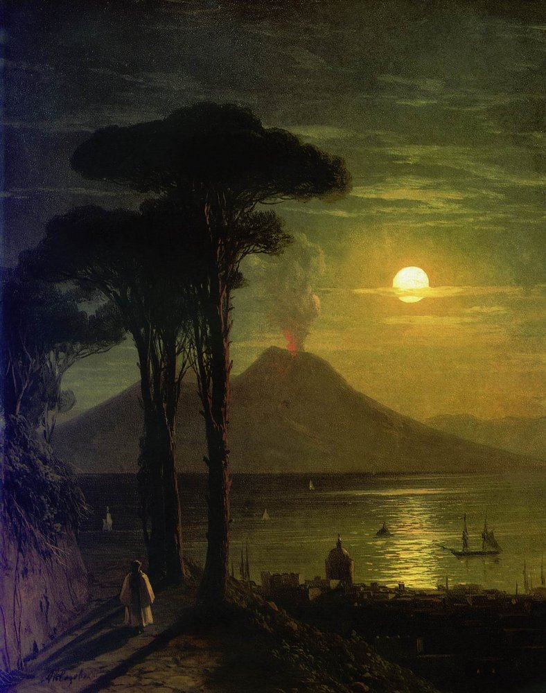 The Bay of Naples at moonlit night. Vesuvius, 1840