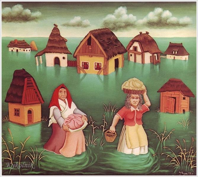 Flood in village, 1964 - Ivan Generalić
