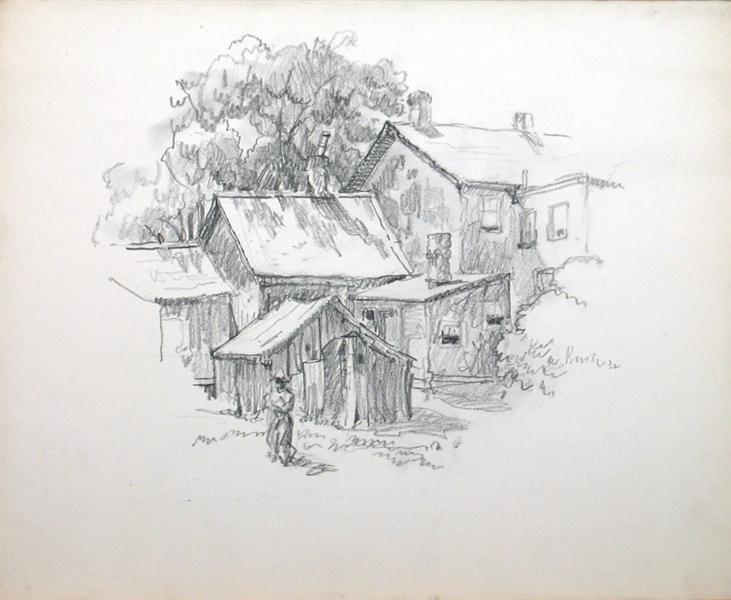 Back Yard with Figure, 1932 - Jack Bush
