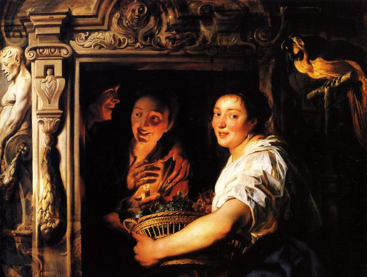 Servant with a fruit basket and a pair of lovers - Jacob Jordaens