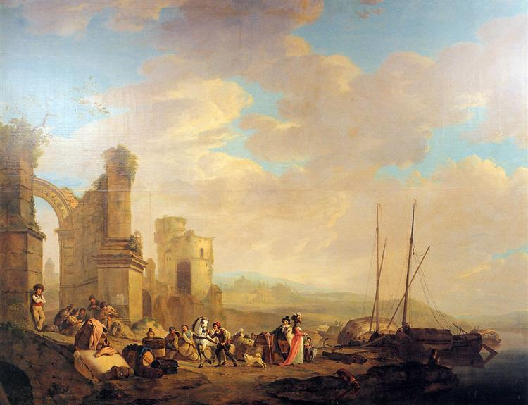 Landscape with coast and ruin - Jacob van Strij