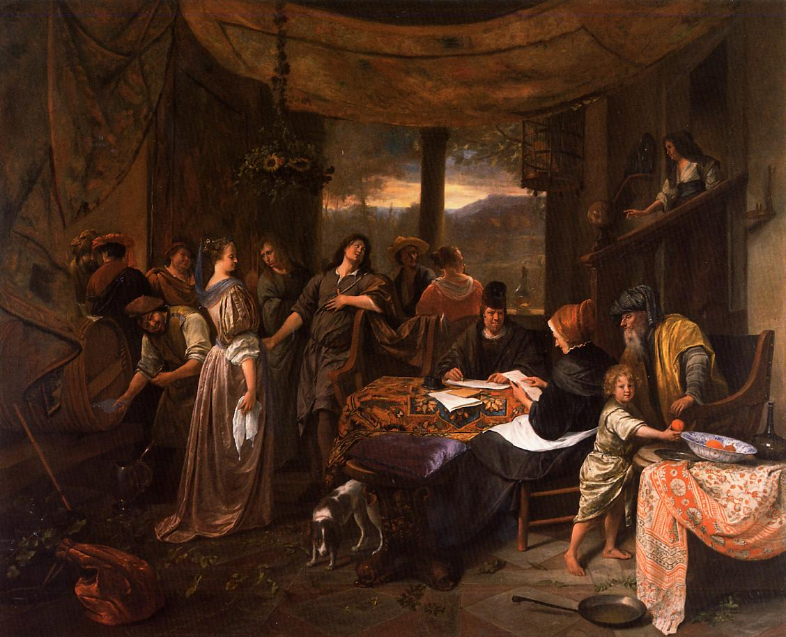 Wedding Of Tobias And Sarah Jan Steen Wikipaintings Org