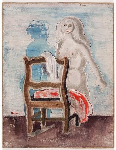 Akt mit Stuhl und rotem Tuch, 1930