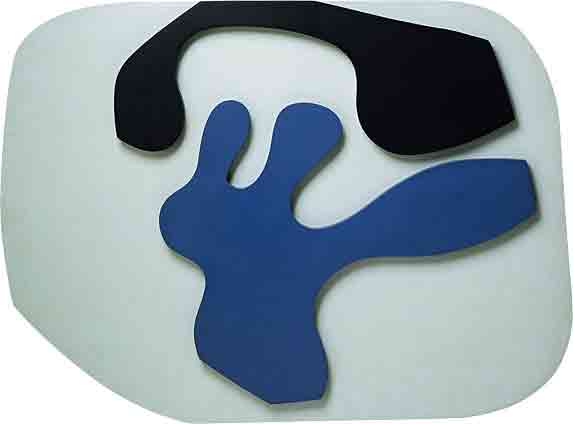 Overturned Blue Shoe With Two Heels Under a Black Vault - Jean Arp
