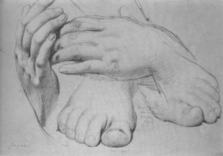 Study of Hands and Feet for The Golden Age, 1862 - Jean Auguste Dominique Ingres