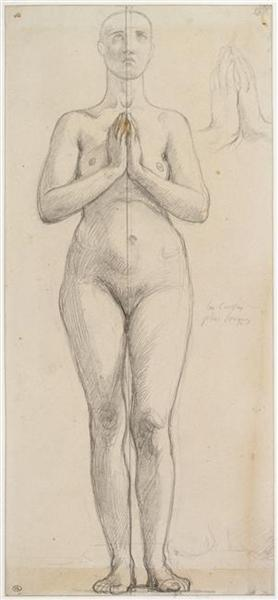 Study of the naked holy Isabella of France - Jean Auguste Dominique Ingres