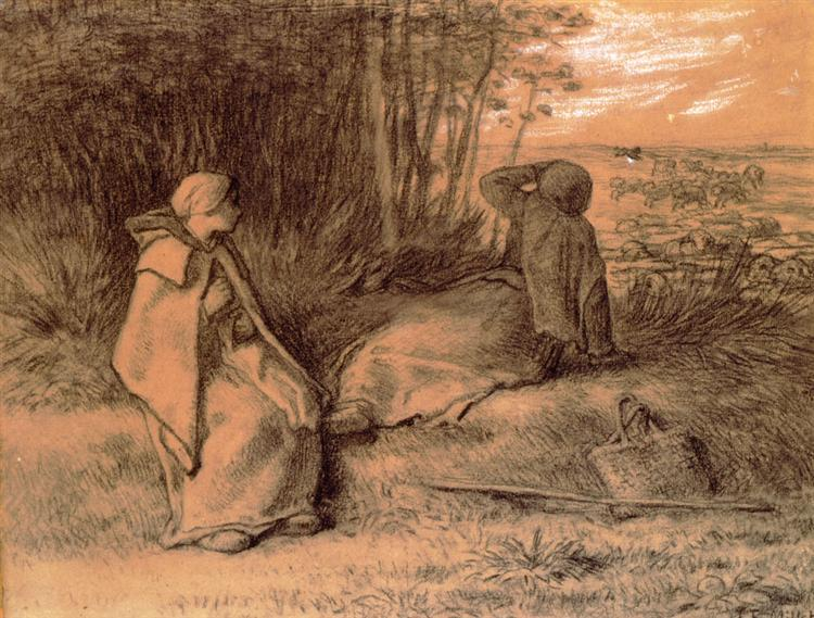 Shepherdesses Seated In The Shade - Jean-Francois Millet